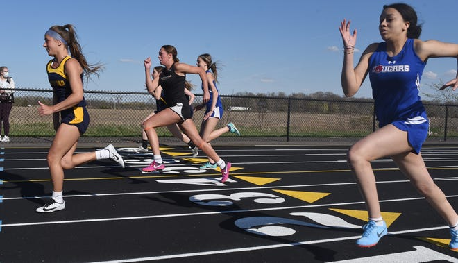 Paige Thomas of Whiteford takes off out of the blocks in a meet earlier this season. She won three events Saturday in the Division 4 Regional at Webberville to help her team take second place. ida's girls and Summerfield's boys also were Regional runners-up.