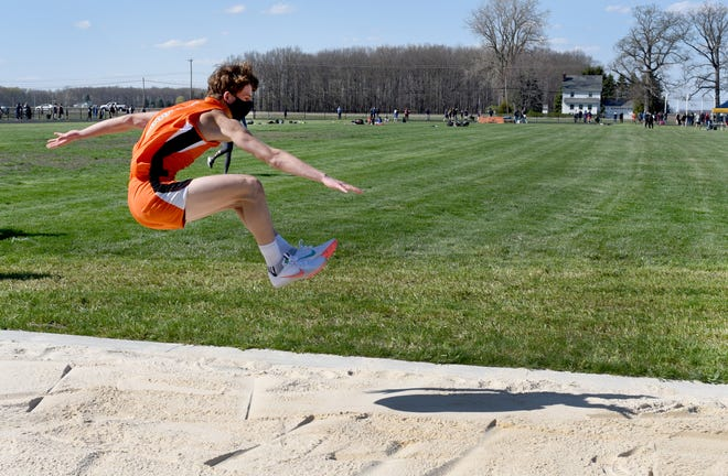 Summerfield's Brandon Thompson competes in the long jump in a meet against Whiteford and Lenawee Christian earlier this season.