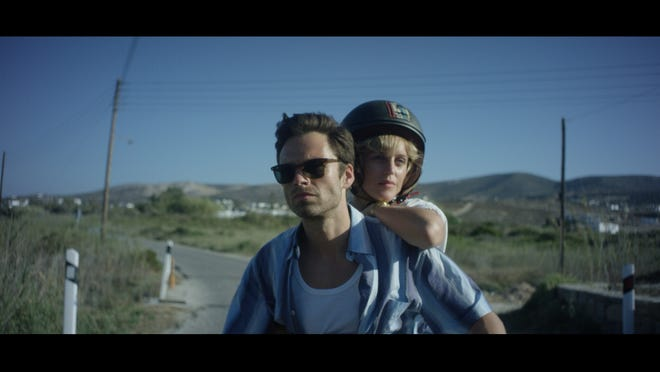 Mickey and Chloe (Sebastian Stan and Denise Gough) check out the backroads of Greece.