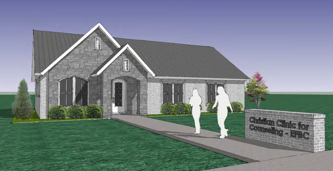 An artist's rendering shows the Christian Clinic for Counseling at First Baptist Church of Edmond.