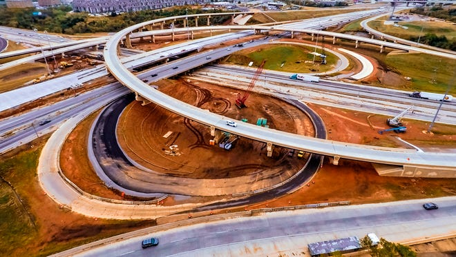 Crews continue construction April 14 on the Interstate 235/I-44 interchange in Oklahoma City.