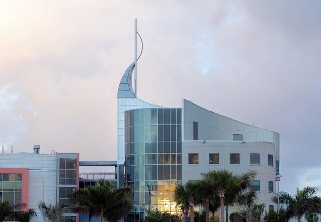 Buildings on the campus of Scripps Florida at dawn.