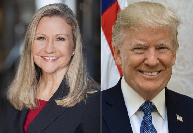 During a radio interview last week, state Sen. Amanda Chase, left, said she planned to meet with former President Donald Trump this month in Florida to seek his endorsement for her Republican gubernatorial campaign.