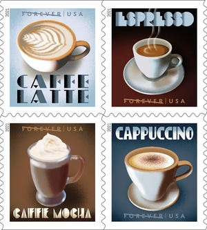 New stamps feature four fine cups of coffee.