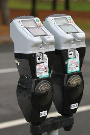 Parking meters on Atwells Avenue in Providence.