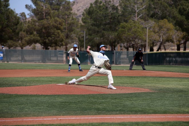 Jacob Gregory pitches in the early innings for the Coyotes during Cerro Coso's home opener against Taft Saturday afternoon.