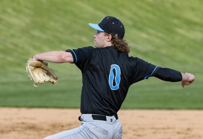 Alliance's Cameron Haynes pitches against Canton South during a game in April.