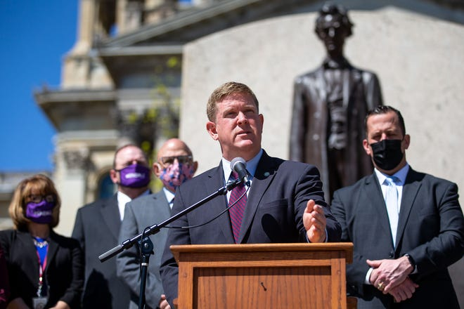 Illinois State Police Director Brendan Kelly speaks on the proposed FOID modernization changes in Senate Bill 1165 and House Bill 745 during a press conference with lawmakers at the Illinois State Capitol in Springfield Wednesday.