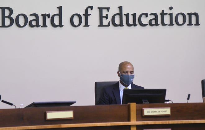 New Hanover County Schools Superintendent Dr. Charles Foust at the New Hanover Board of Education meeting in Wilmington, N.C., Tuesday, April 13, 2021.