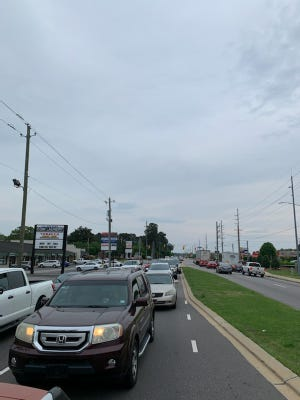 Traffic is backed up in both directions on Ramsey Street on Wednesday evening.