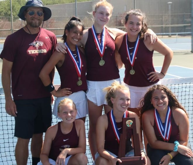 Oak Hall's district champion girls tennis team: From left, top, coach Chris McDonald, Allison Bizub, Ella Moser and Molly Thelosen. Bottom,  Josie Pickens, Kate Pickens and Nour Oweiss