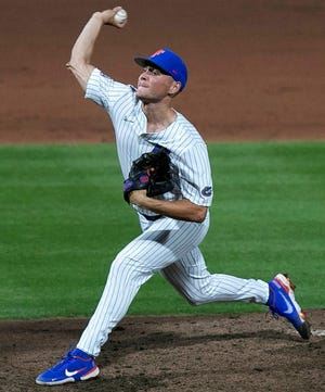 Florida's Jack Leftwich retired 12 of 13 batters he faced in relief Tuesday, including the first nine in a row, and rung up seven strikeouts in four no-hit innings to help the Gators down Florida State 3-2 at Florida Ballpark.