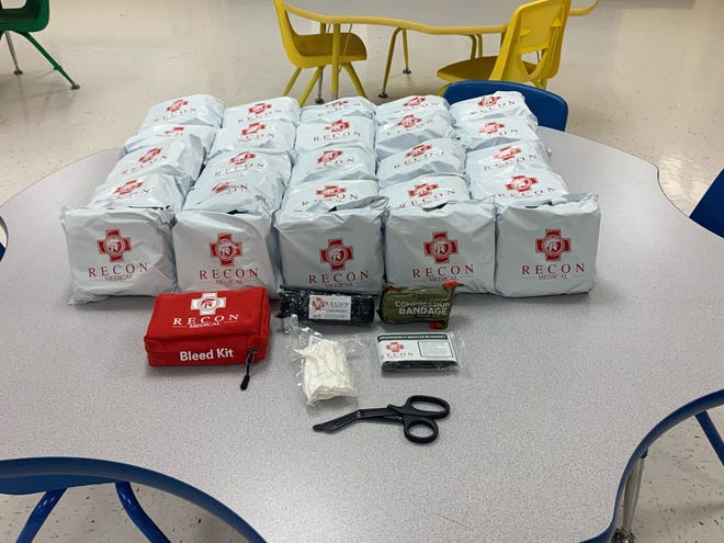 These Recon Bleed Kits have been provided for all classrooms at Southside Elementary School, thanks to the Southside police and several donors.