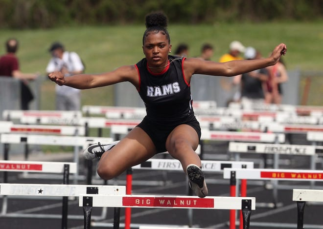 Whitehall-Yearling's Ry'YairSmith competes in the 400-meter shuttle hurdles during the Red Edwards Golden Eagle Relays on April 10 at Big Walnut. TheRams girls team finished eighth (18.96) behind champion Big Walnut (116.46).