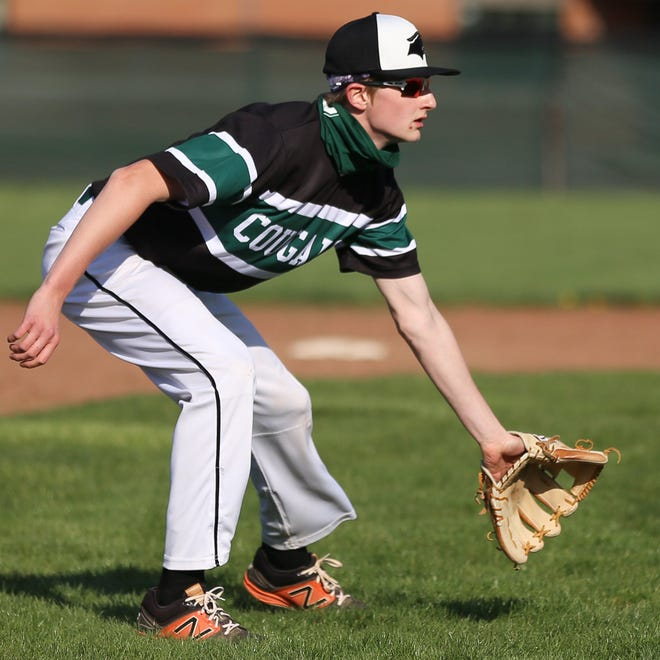 Westland's Brenden Gordon prepares to scoop up a grounder during a 12-0 loss to visiting Gahanna on April 13 in the OCC-Ohio opener. Gordon has been one of the top pitchers for the Cougars this season.