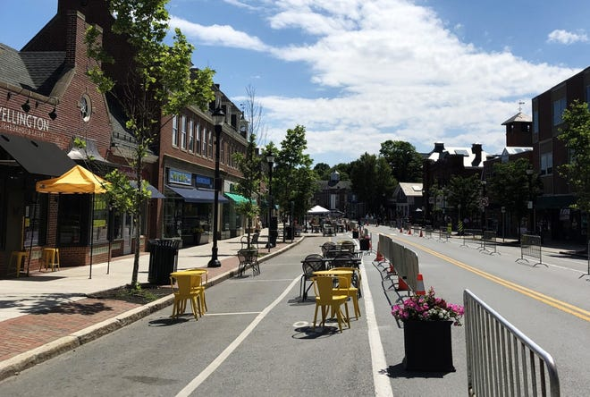 Leonard Street in Belmont Center will become one way for outdoor dining to begin May 3 through Oct. 31, 2021.