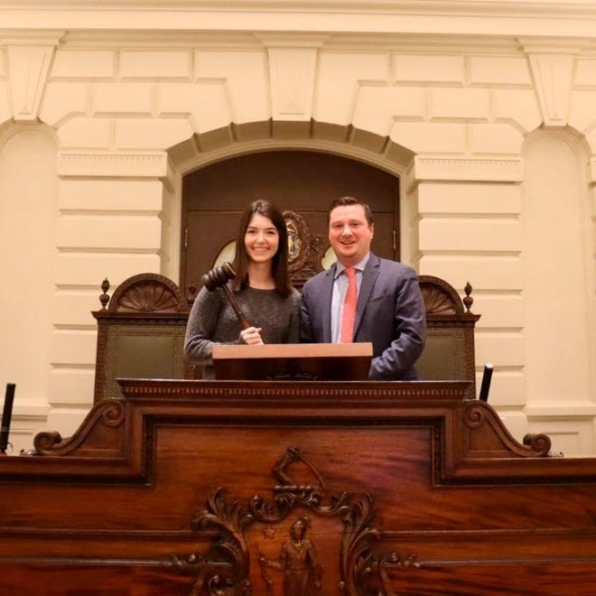 Grace Alves, a 2018 Cohasset High graduate, poses with Senator Patrick O'Connor. Alves spent last winter break interning in O'Connor's office, where she proposed a grant program to assist low-income support service providers to purchase solar power equipment that was included in the Next Generation Climate Roadmap bill passed by Gov. Baker last month.