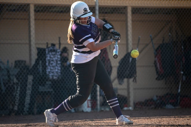 Lakeview's Peyton Russell swings at the ball on Tuesday, April 13, 2021 at Marshall High School.