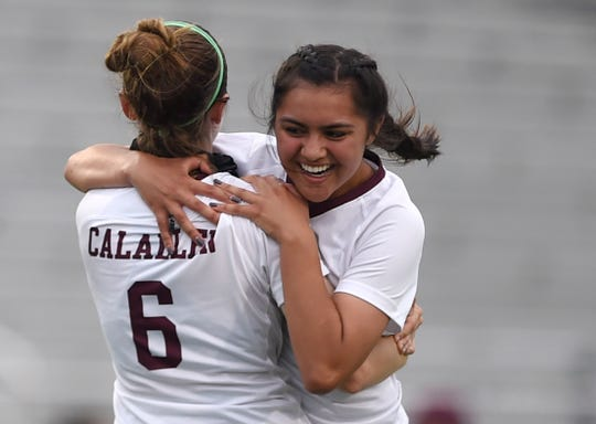 Calallen players celebrate after a goal against Salado in a Class 4A state semifinal soccer game, Tuesday, April 13, 2021, in New Braunfels. Calallen won, 3-2.