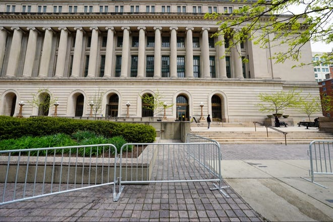 Barricades were erected at the Hamilton County Courthouse Wednesday in anticipation of planned protests against police violence on Thursday, April 15.