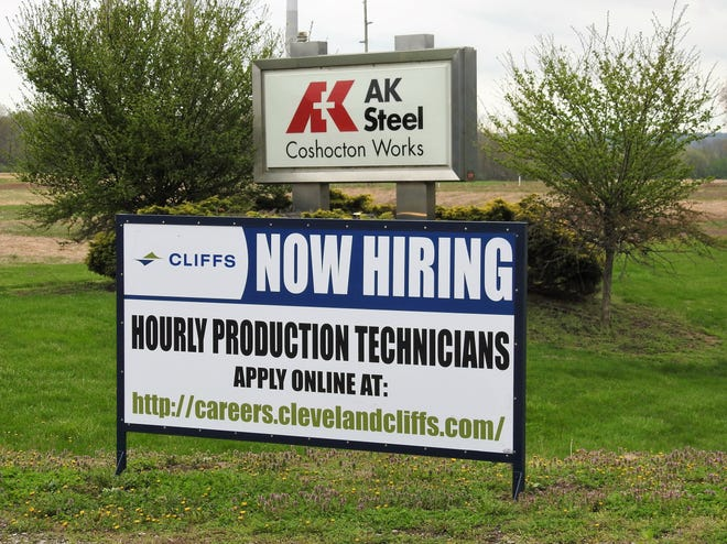 AK Steel, now owned by Cleveland Cliffs, is one of the major employers in Coshocton County and are looking for employees like many other businesses.
