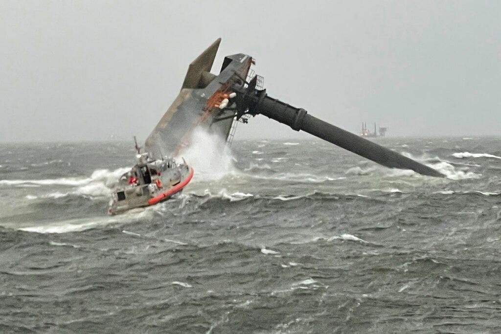 Capsized ship off Louisiana: 12 missing, 1 dead, 6 rescued 1