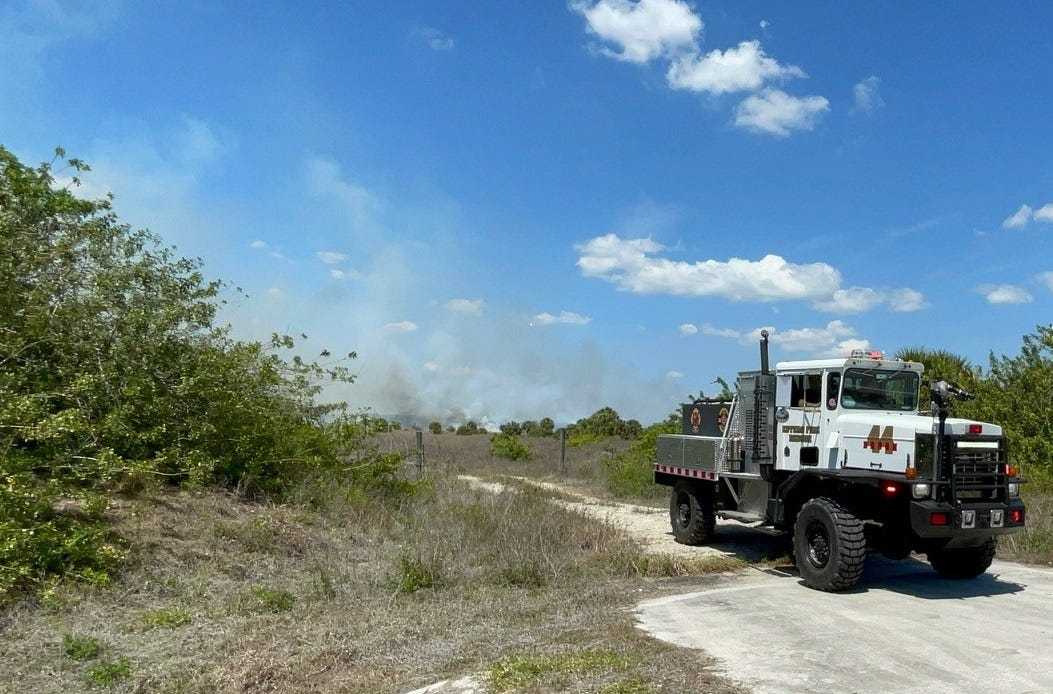 Multiple Lee County fire departments contain 35-acre brush fire off Corkscrew Road 1