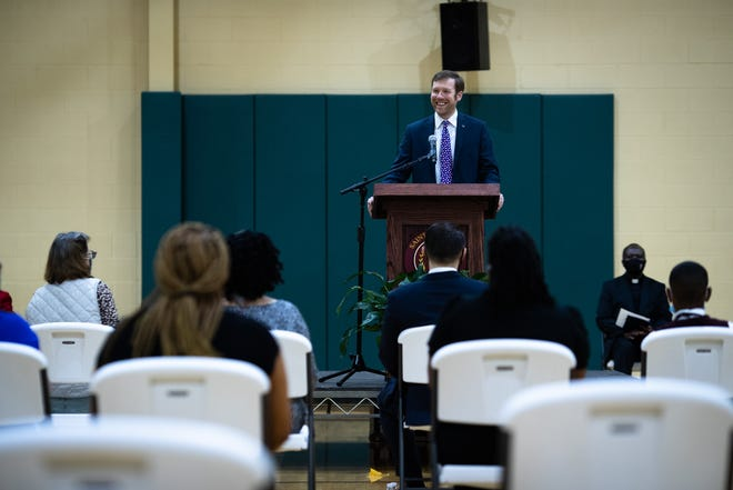 Daniel Suhr, an attorney from the Liberty Justice Center, speaks at a press conference Wednesday, April 14, 2021, at the St. Anthony of Padua Catholic School in Greenville, where the Liberty Justice Center announced that it is filing a federal lawsuit challenging a portion of South Carolina's state Constitution. The section is commonly referred to as the Blaine Amendment and says public funds cannot be used for private or religious entities.