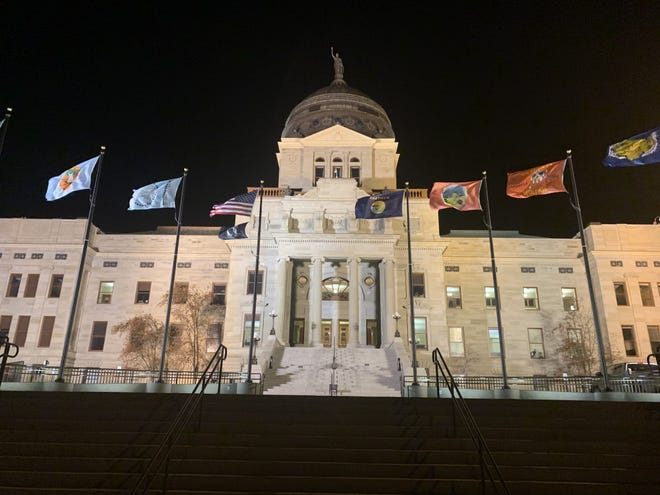 The Montana Capitol in Helena at night.