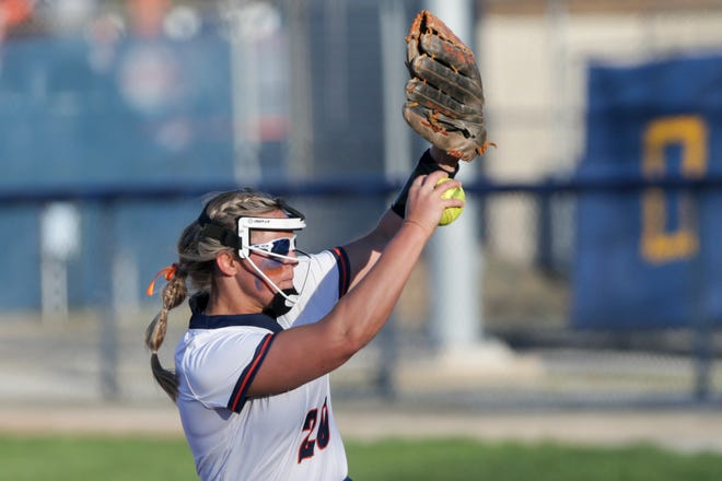 Harrison's Abbott Badgley (20) pitches during the sixth inning of an IHSAA softball game, Tuesday, April 13, 2021 in West Lafayette.
