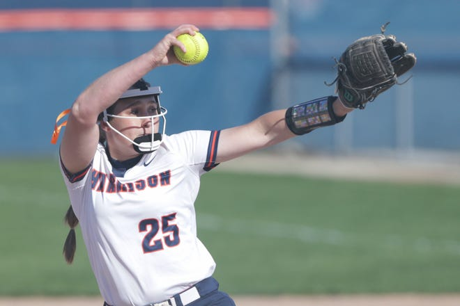 Harrison's Emma Henderson (25) pitches during the first inning of an IHSAA softball game, Tuesday, April 13, 2021 in West Lafayette.