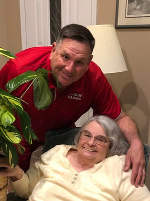 Ragin' Cajuns softball coach Gerry Glasco visits in 2019 with his mom, Sue A. Glasco, who passed away March 23 at her home in Illinois.