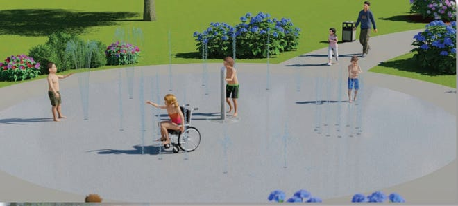 A rendering  of what the splash pads in Johns Park and North Lake Park could look like.