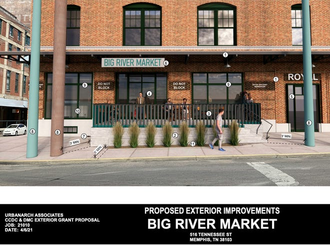 Renderings show proposed exterior improvements to the Emerge Building at 516 Tennessee St. which will house the new Big River Market.