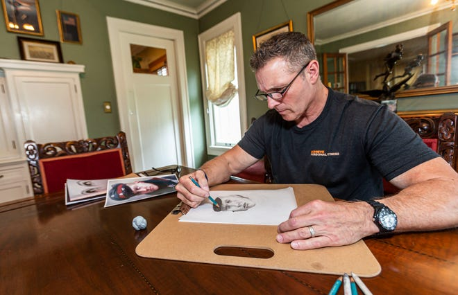 Michael Andersen, a retired Brookfield Police Department officer and sketch artist, keeps in practice at his home.