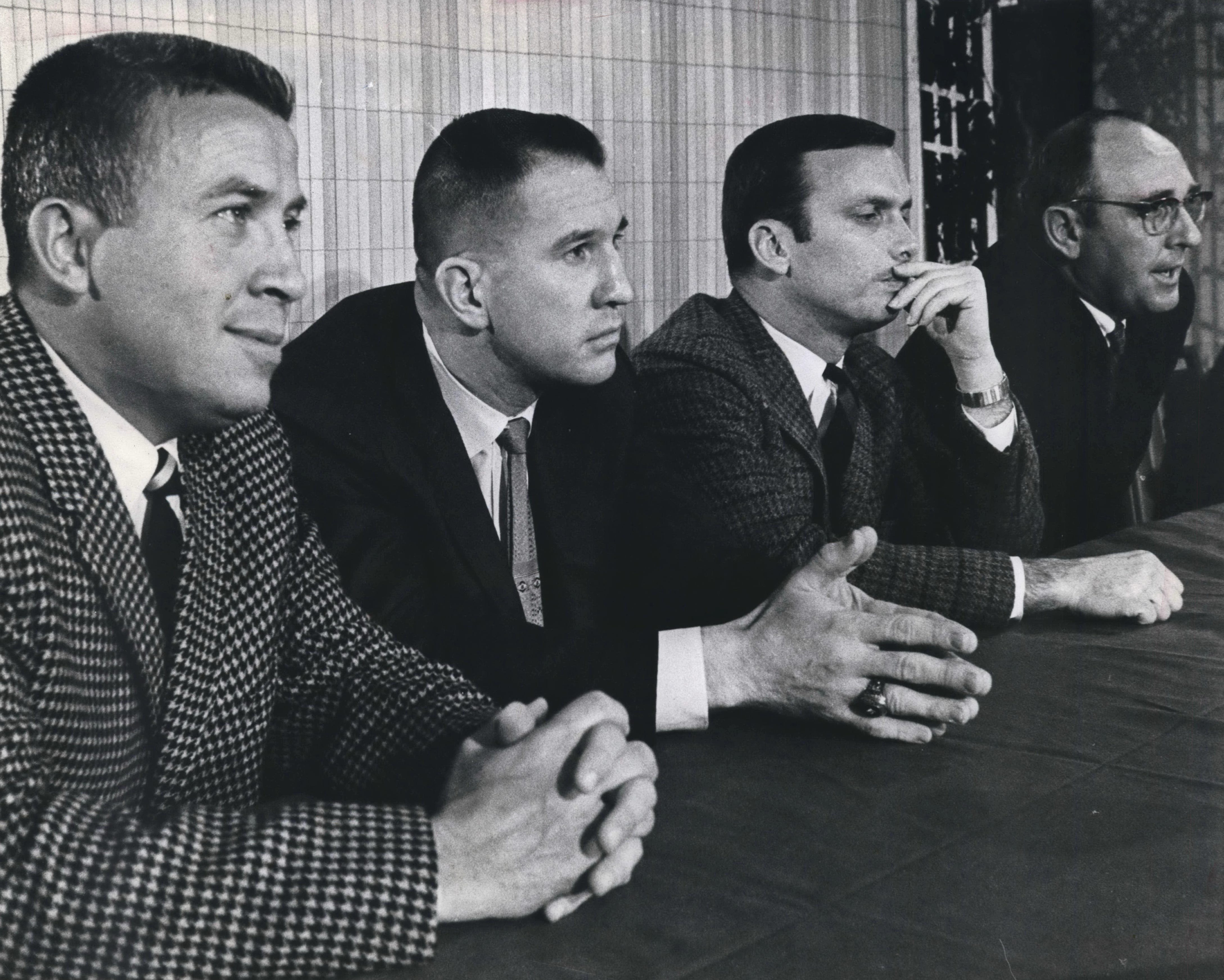 From left, new Milwaukee Bucks general manager John Erickson and coach Larry Costello are introduced. From right is director of operations Ray Patterson and assistant coach Tom Nissalke.