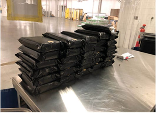 About 62 kilograms in suspected cocaine was seized at the Blue Water Bridge on March 31.