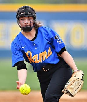Kennard-Dale's Julie Rubelmann pitches against Eastern York during softball action at Eastern York High School in Lower Windsor Township, Wednesday, April 14, 2021. Kennard-Dale would win the game 8-0. Dawn J. Sagert photo