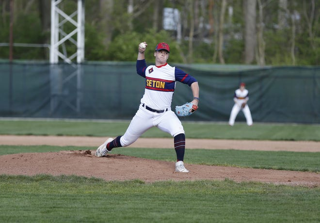Seton Catholic senior pitcher Luke Leverton throwing against Park Tudor at McBride Stadium on Tuesday, April 13.