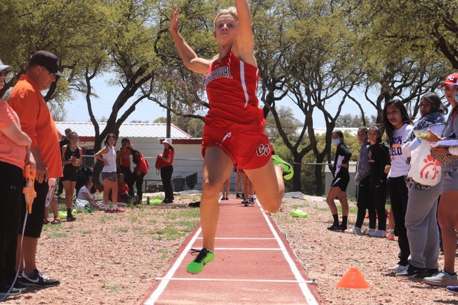 Christoval High School's Allison Vaughn competes in the triple jump at the District 7-2A track and field meet in Christoval, April 1, 2021.
