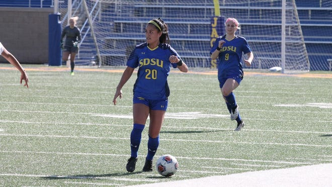 SDSU's Karlee Manding (20) and Cecilia Limongi (9) will help the Jacks in their bid for a Summit League tournament title this weekend in Omaha.