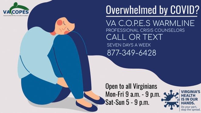 VA COPES warmline is a professional crisis counseling support service available for all Virginians who are feeling overwhelmed by COVID.