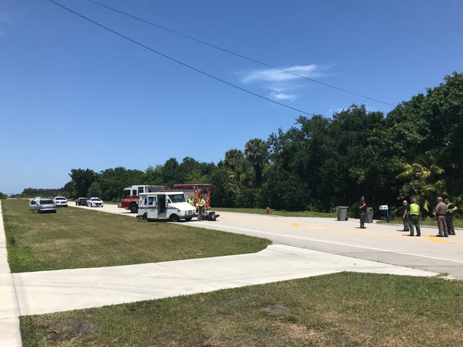 A Vero Beach man, 29, on a motorcycle was seriously injured in a crash with a United State Postal Service mail carrier in the 1200 block of 66th Avenue shortly before 1:30 p.m., Wednesday, April 14, 2021, highway officials said.