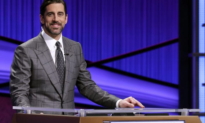"Green Bay Packers quarterback Aaron Rodgers guest hosted two weeks of ""Jeopardy!"" in April."