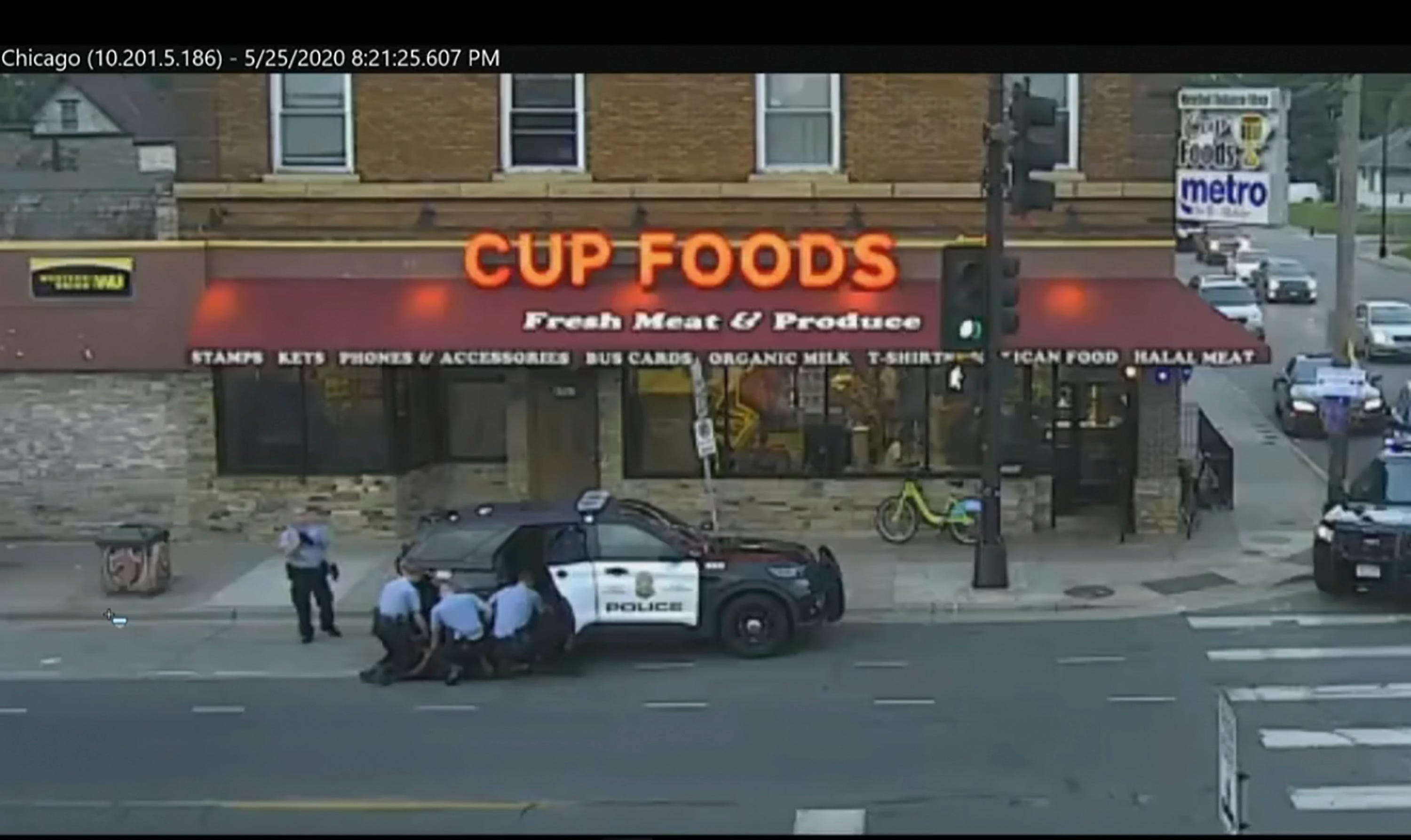 Minneapolis city surveillance video shows police trying to take George Floyd into custody in Minneapolis on May 25, 2020. The video was shown in the trial of former Minneapolis police officer Derek Chauvin.