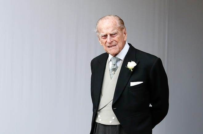 Prince Philip, Duke of Edinburgh, at the wedding of Princess Eugenie of York to Jack Brooksbank at St. George's Chapel on Oct. 12, 2018, in Windsor, England.