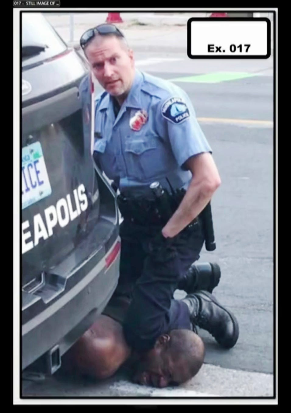 In this image from video provided by Darnella Frazier, Minneapolis Police Officer Derek Chauvin kneels on the neck of George Floyd in Minneapolis on May 25, 2020.