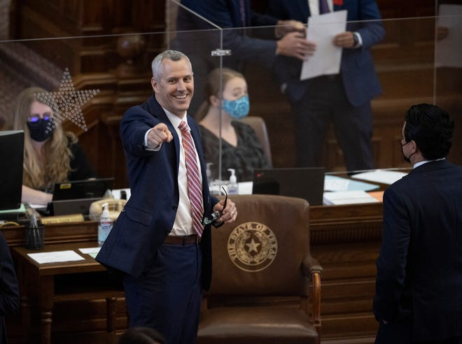 State Rep. Matt Schaefer, R - Tyler, smiles during the debate of House Bill 1927 in the House Chamber at the Capitol on Thursday April 15, 2021. The bill would allow people to carry a handgun without a permit.
