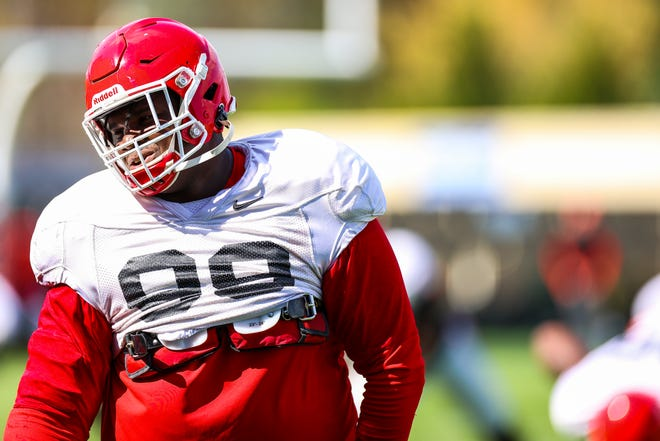Georgia defensive lineman Jordan Davis (99) during the Bulldogs' practice session in Athens, Ga., on Tuesday, March 30, 2021. (Photo by Tony Walsh)