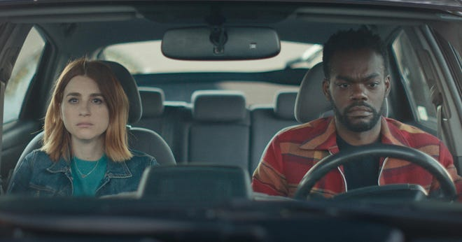 "(L-R) Aya Cash and William Jackson Harper star in ""We Broke Up,"" available for streaming rental at athenscine.com on April 23, 2021."